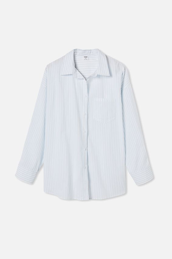 Dad Shirt, LEILA STRIPE DAISY BLUE