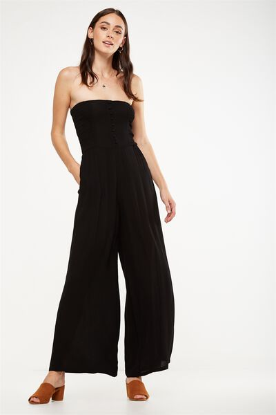Woven Aspen Off The Shoulder Jumpsuit, BLACK