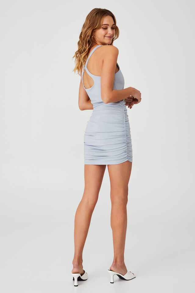 Day To Night Bodycon Ruched Mini Dress, SILVER BLUE