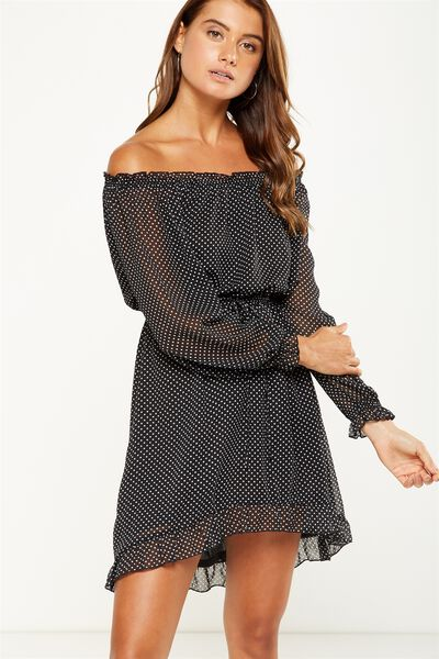 Woven Lorne Off The Shoulder Dress, KARLA SPOT BLACK