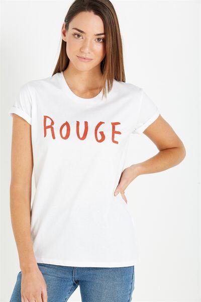 Tbar Fox Graphic T Shirt, ROUGE/WHITE