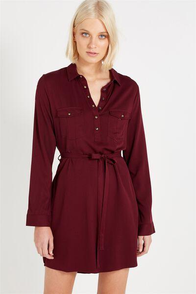 Woven Tammy Long Sleeve Shirt Dress, GARNET