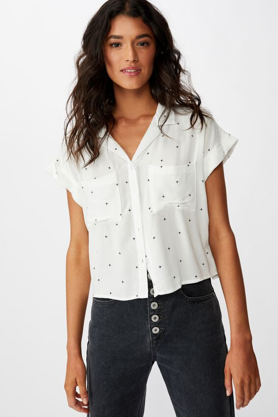 Emily Chopped Short Sleeve Shirt, ELLA STAR WHITE