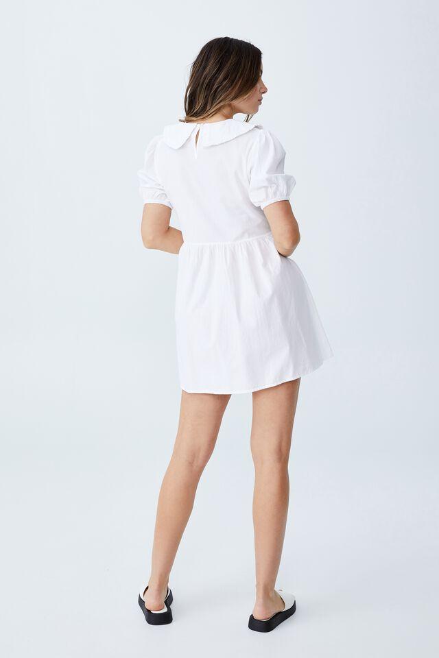 Woven Jessie Short Sleeve Collar Babydoll Mini Dre, WHITE