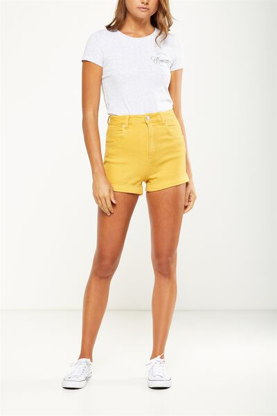 High Rise Classic Stretch Denim Short, MARIGOLD