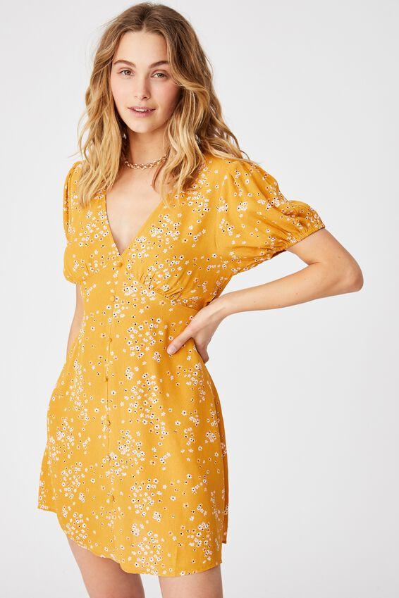 Woven Essential Button Front Mini Dress, TONI FLORAL MUSTARD