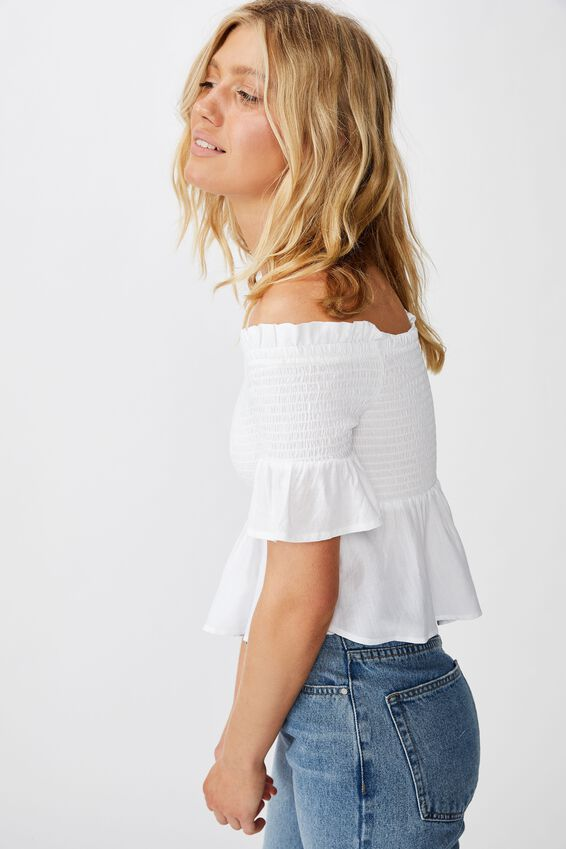 Daisy Off The Shoulder Shirred Peplum, WHITE