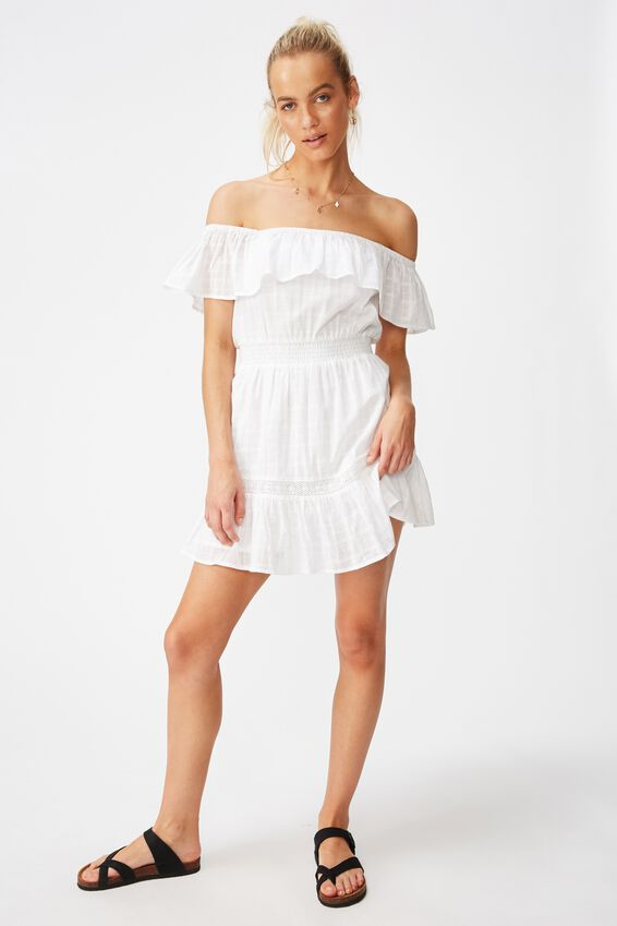 Woven Olivia Off The Shoulder Dress, WHITE