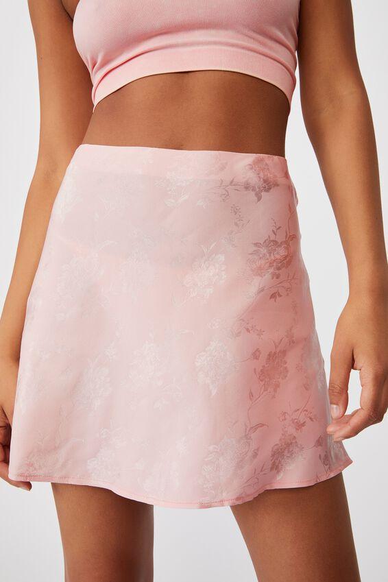 Simple Slip Mini Skirt, SOFT PINK FLORAL JACQUARD