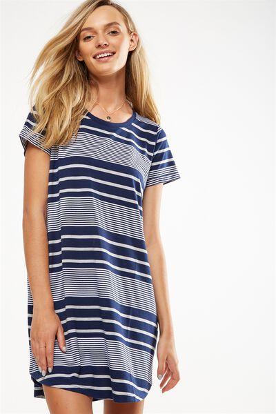 Tina Tshirt Dress 2, MOONLIGHT/WHITE/GREY MARLE ANNA STRIPE