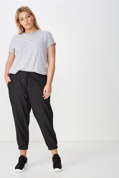 Curve Relaxed Shirred Pant, BLACK