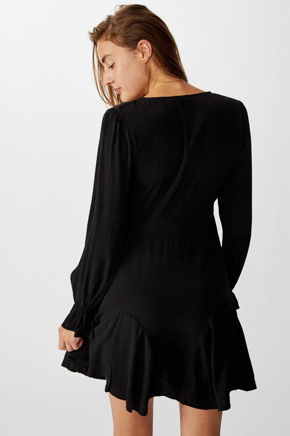 Woven Pepa Long Sleeve Mini Dress, BLACK