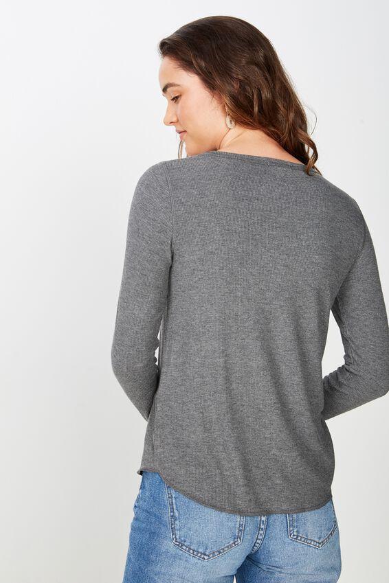 The Girlfriend Long Sleeve Top, CHARCOAL MARLE