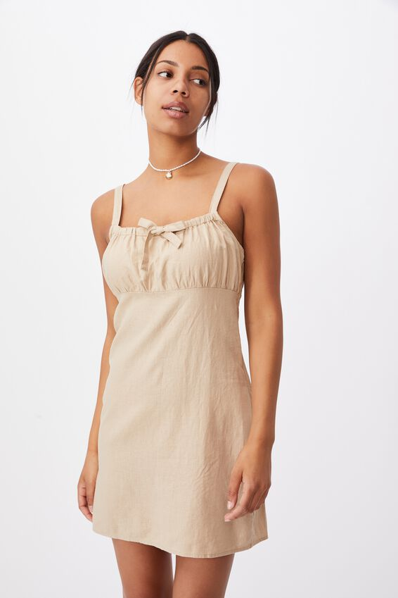 Woven Layla Tie Front Mini Dress, WARM STONE