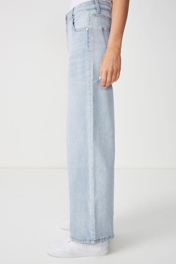 High Wide Stretch Jean, WORN LIGHT BLUE