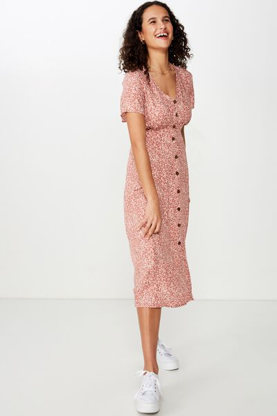 Woven Cherry Button Front S/S Midi Dress, ISSY DITSY MINERAL RED