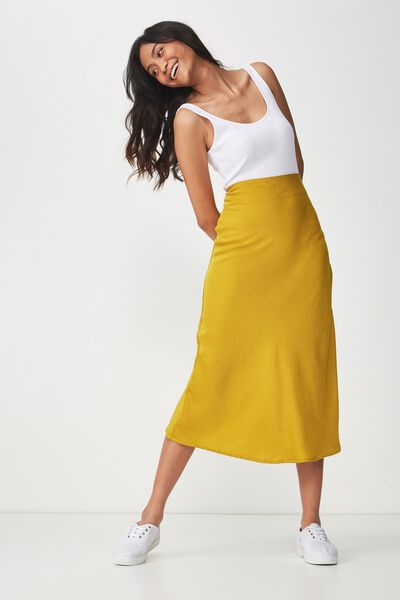 Woven Belle Bias Midi Skirt, GOLDEN PALMS