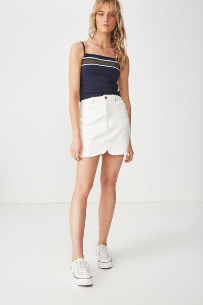Fashion Crop Cami, MEL BLOCK STRIPE MOONLIGHT/UTILITY KHAKI