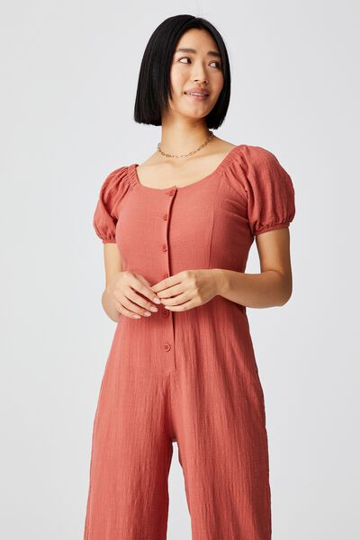 Woven Petite Juni Puff Sleeve Jumpsuit, EARTHY RED