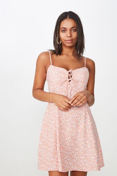 Woven Agnes Tie Front Mini Dress, HAVANA DITSY ROSE TAN