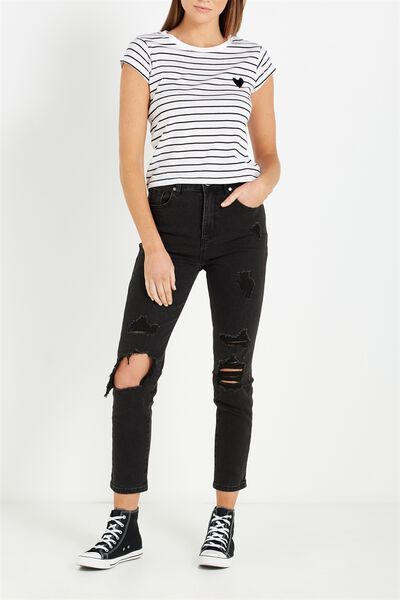 High Rise 90S Stretch Jean, BLACK RIPS