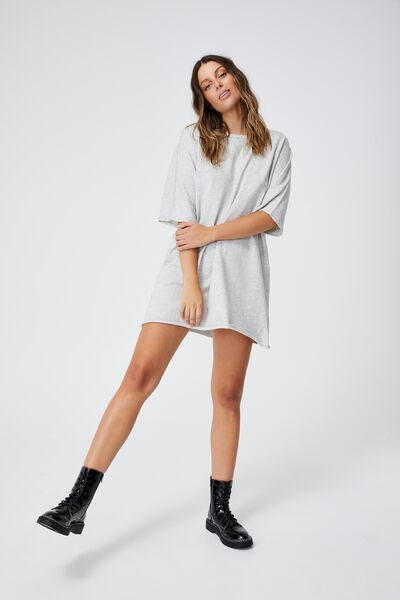 The Easy Short Sleeve Crew Mini Dress, LIGHT GREY MARLE