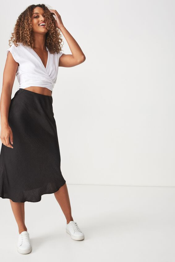 Belle Bias Midi Skirt, BLACK ELASTICATED