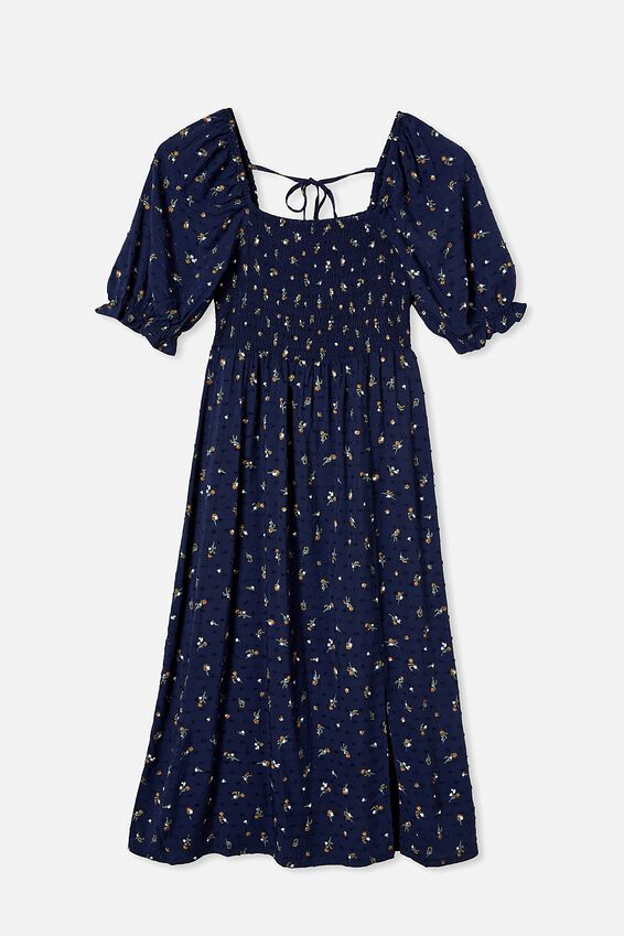 Woven Bonnie 3/4 Sleeve Midi Dress, RHEA DITSY NAVY