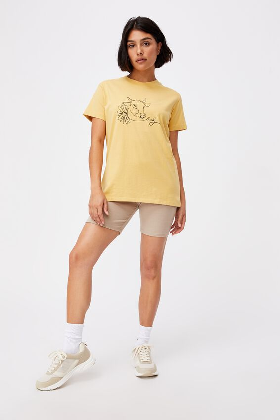 Classic Cny Graphic T Shirt, COW LINEWORK/GOLDEN HOUR YELLOW