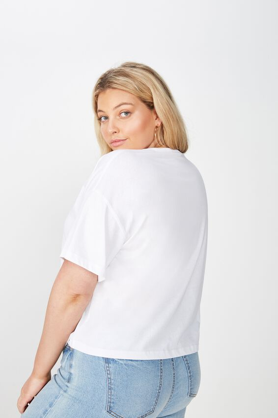 Curve Relaxed V Neck Tee, WHITE