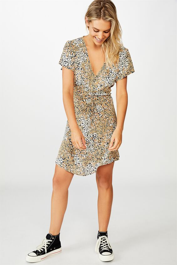 Woven Marissa Gathered Front Mini Dress, MANDY MULTI DITSY EBONY