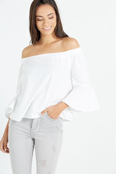 Abbie Off The Shoulder Top, WHITE