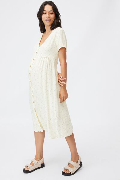 Maternity Woven Button Front Ss Midi Dress, RIDDLE DITSY LEMON
