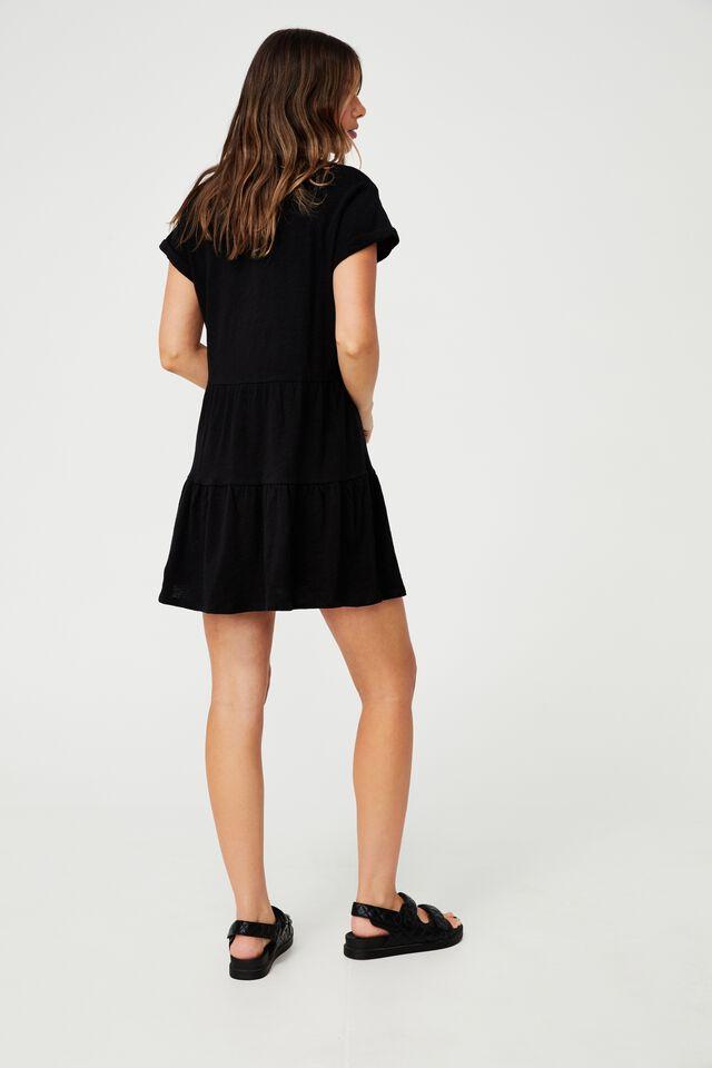 Ritchie Tiered Tunic Mini Dress, BLACK