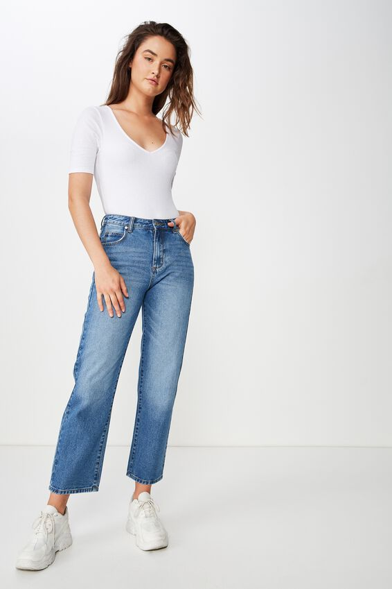 High Straight Crop Jean, SEATTLE FADED BLUE