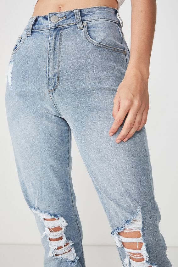 Stretch Mom Jean, HERITAGE BLUE RIPS