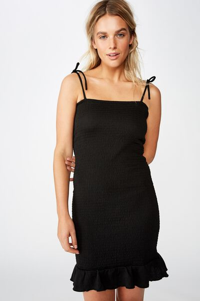 Shelby Shirred Strappy Mini Dress, BLACK