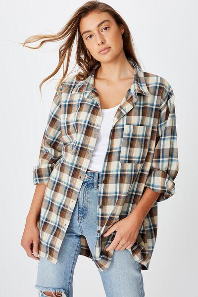Boyfriend Shirt, NEUTRAL MULTI CHECK