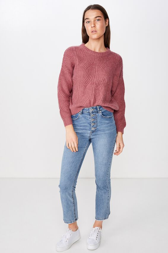 Sari Slouchy Pointelle Pullover, DECO ROSE