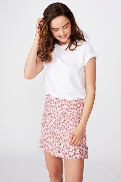 Ruby Shirred Mini Skirt, RACHEL FLORAL FRAGRANT LILAC