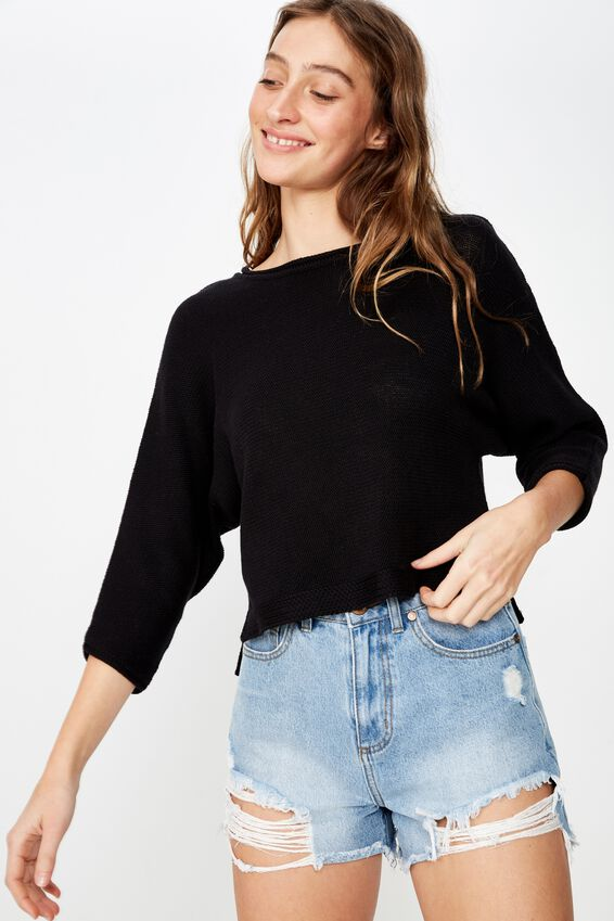 Summer Step Hem Pullover, BLACK