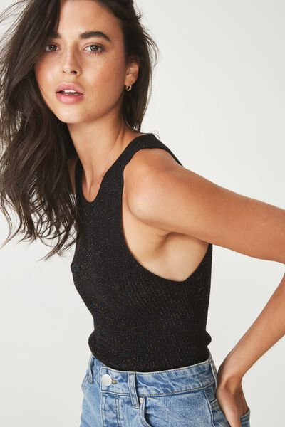 Lee Racer Back Tank, BLACK