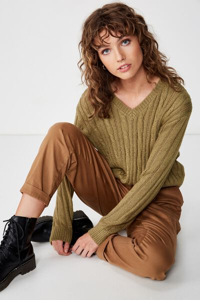 Cassie Cable Pullover, LIGHT OLIVE