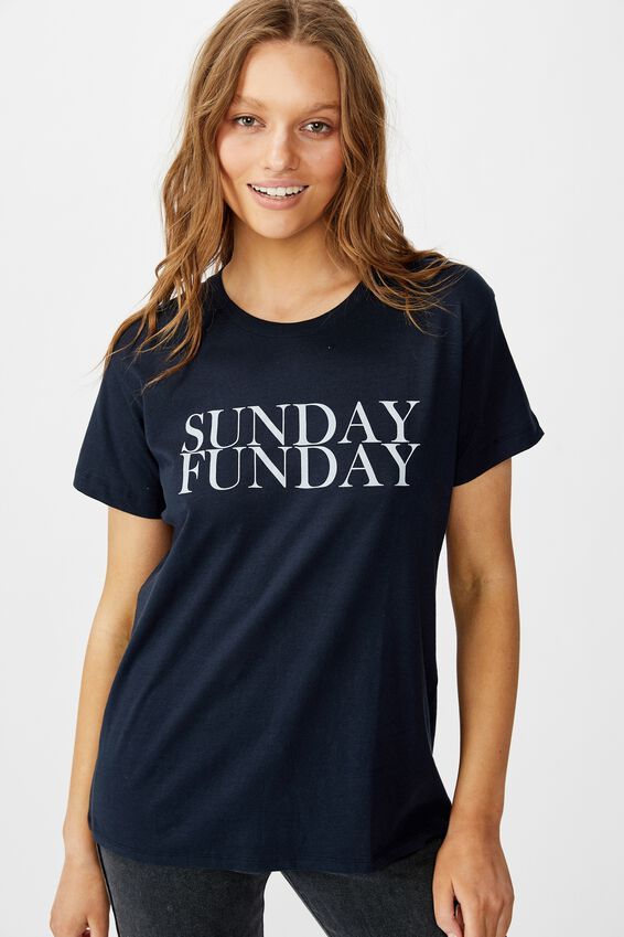 Classic Slogan T Shirt, SUNDAY FUNDAY/MOONLIGHT