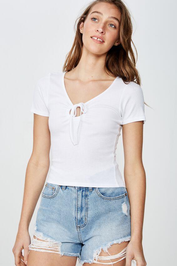 Elise Short Sleeve Keyhole Top, WHITE