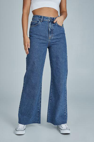 Long Wide Leg Jean, OFFSHORE BLUE