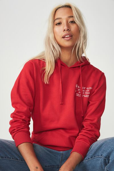 Delevingne Graphic Hoodie, LOST LOVE/JESTER RED