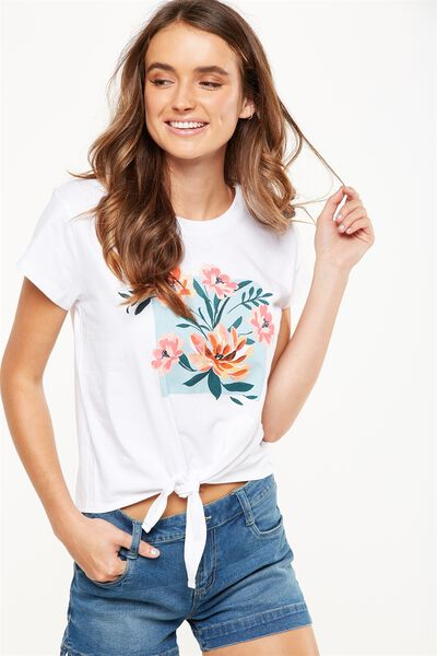 Tbar Tie Front Tee, PARADISE BOUQUET/WHITE