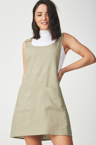 Woven Utility Pinafore Dress, SILVER SAGE