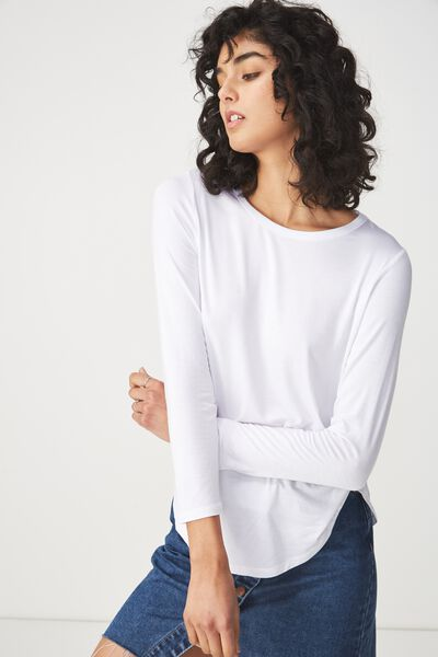 Kathleen Long Sleeve Top, WHITE